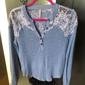 Free People 5 button lace top